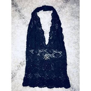 Tops - Beautiful lace sequin black top
